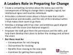 a leaders role in preparing for change