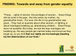 finding towards and away from gender equality