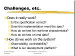 challenges etc