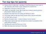 ten top tips for parents