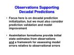 observations supporting decadal predictions1