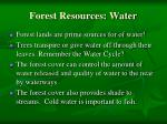 forest resources water