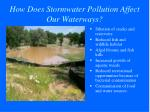 how does stormwater pollution affect our waterways