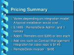pricing summary