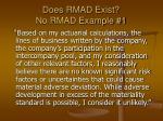 does rmad exist no rmad example 1