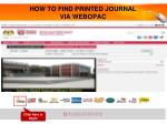 how to find printed journal via webopac