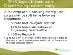 2015 region h conference fundraising overage policy