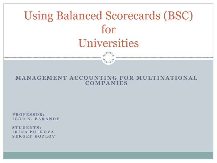 using balanced scorecards bsc for universities n.