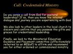 call credentialed ministry