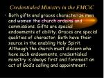 credentialed ministry in the fmcic2
