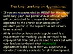 tracking seeking an appointment