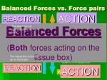 balanced forces vs force pairs