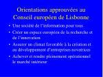 orientations approuv es au conseil europ en de lisbonne
