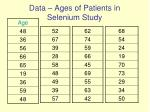 data ages of patients in selenium study