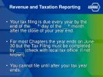 revenue and taxation reporting1