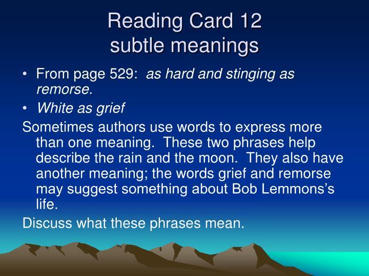 Reading Card 12