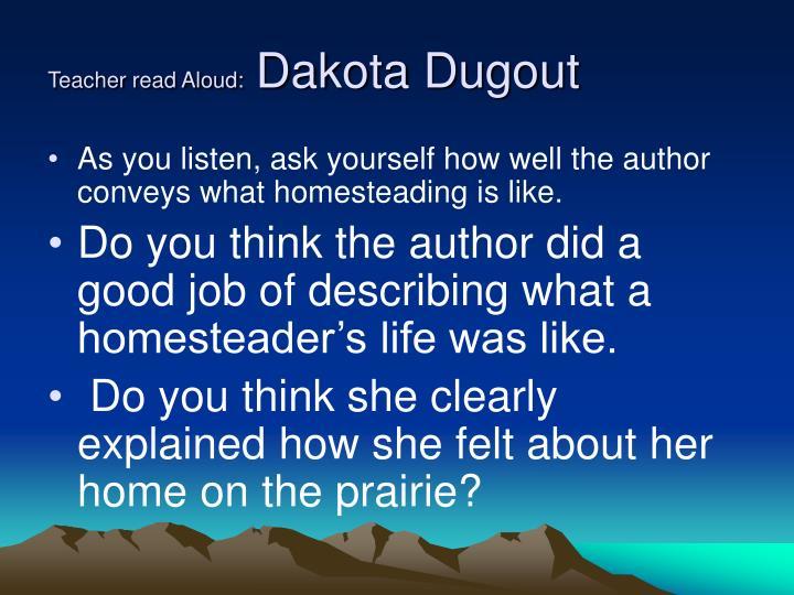 Teacher read aloud dakota dugout