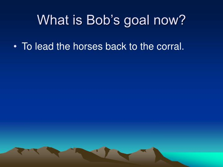 What is Bob's goal now?