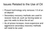 issues related to the use of oil