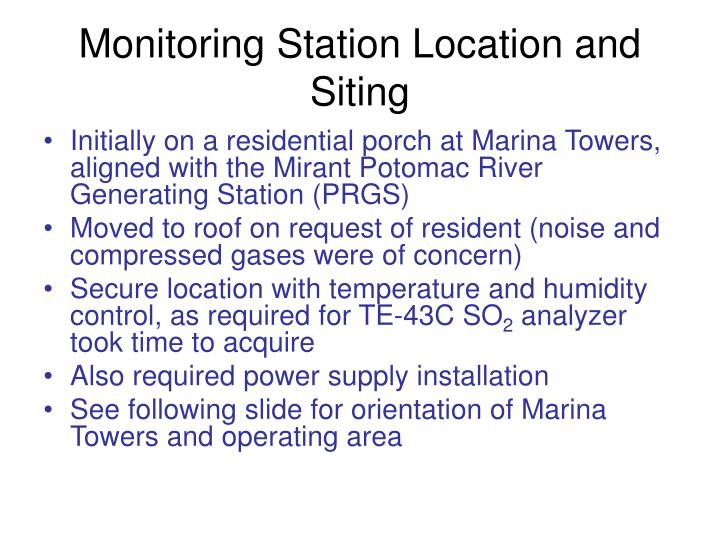 monitoring station location and siting n.