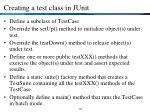 creating a test class in junit