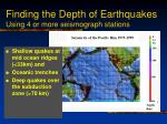 finding the depth of earthquakes using 4 or more seismograph stations