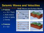 seismic waves and velocities