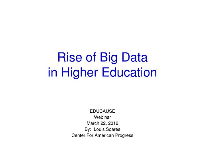 rise of big data in higher education n.