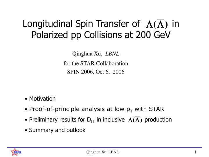 longitudinal spin transfer of in polarized pp collisions at 200 gev n.