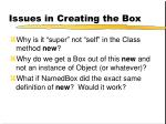 issues in creating the box