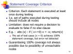statement coverage criterion