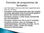 formules de programmes de formation