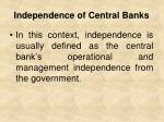 independence of central banks