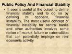 public policy and financial stability