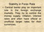 stability in forex rate