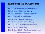 numbering the ec standards