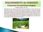 requerimiento de humanos componentes del requerimiento energ tico