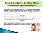 requerimiento de humanos componentes del requerimiento energetico