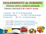 requerimiento de humanos distribuci n cal rica y cantidad de nutrientes d a