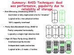 summary raid techniques goal was performance popularity due to reliability of storage