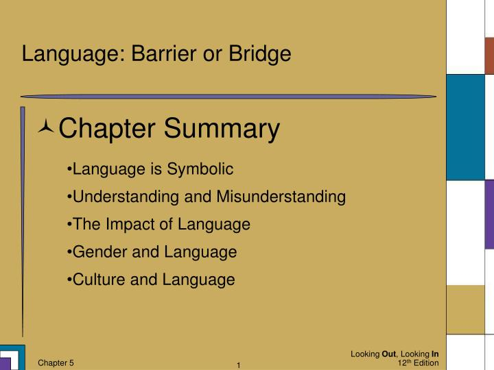 language barrier or bridge n.