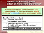 unrealized inventory gains effect on noncontrolling interest1