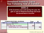 unrealized inventory gains year following year of transfer