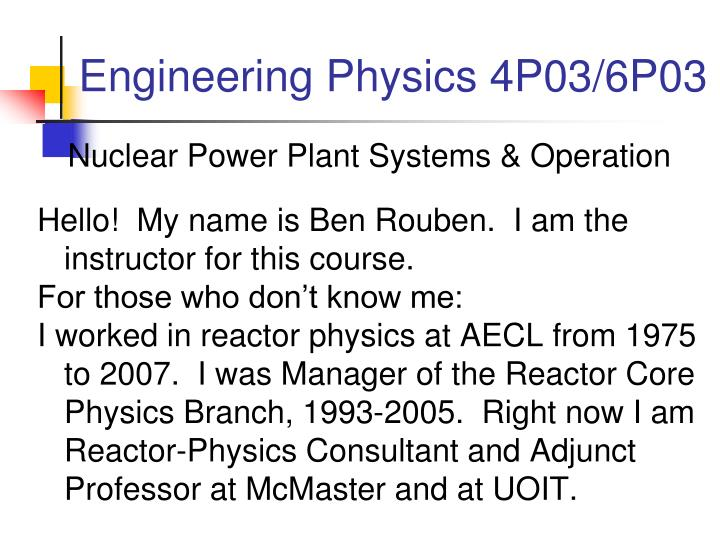 engineering physics 4p03 6p03 n.