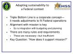 adapting sustainability to a federal context
