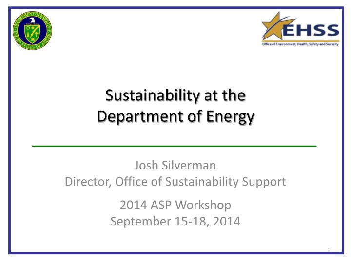 sustainability at the department of energy n.