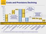 costs and provisions declining