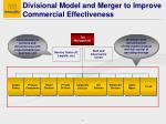 divisional model and merger to improve commercial effectiveness