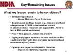 key remaining issues