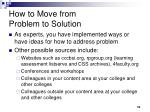 how to move from problem to solution